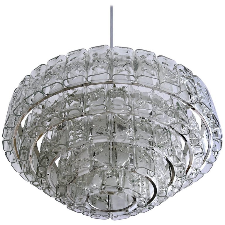 Large Blown Glass Chandelier Pendant Ceiling Lamp by Doria, Germany, 1960s