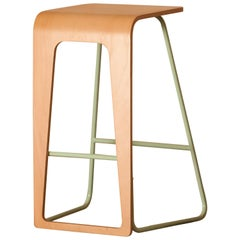Contemporary bar stool by Le Point D with metal color frame and plywood seat