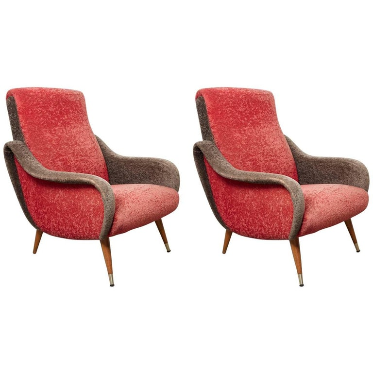 Set of Italian 1950s Red and Grey Ladies Lounge Chairs in the Style of Zanuso