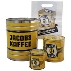 1950s, Set of German Tin Boxes Jacobs Coffee and Paper Bag
