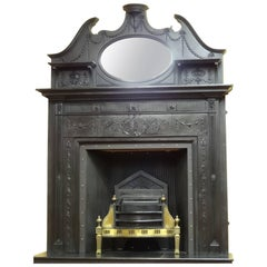 19th Century Victorian Cast Iron Fire Surround with Matching Overmantel Mirror
