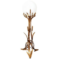 1960s Brass Cattail Floor Lamp with Glass Shade , Europe