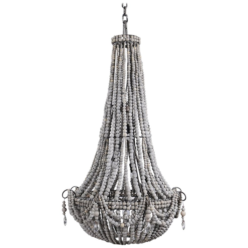 klaylife Elongated, Large, grey handmade clay beaded chandelier, 21st Century