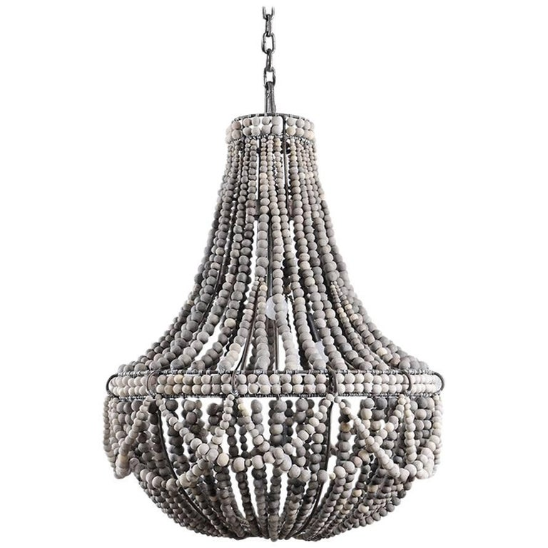 Klaylife, Frill, Grey, Large, Handmade Clay Beaded Chandelier