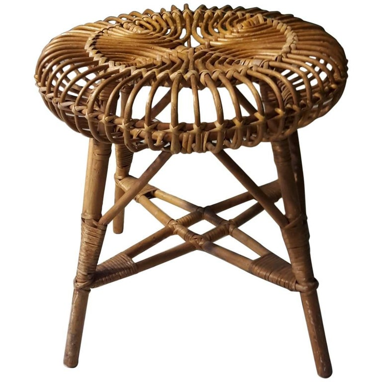 20th Century French Stool Made of Wicker, 1960s