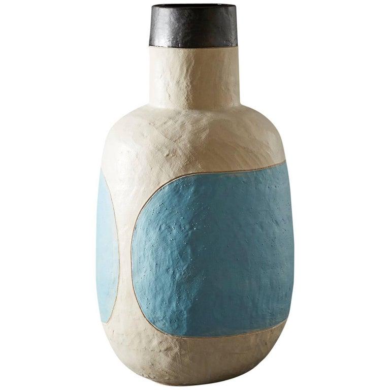Large Handmade Blue And White Ceramic Stoneware Vase By Daniel