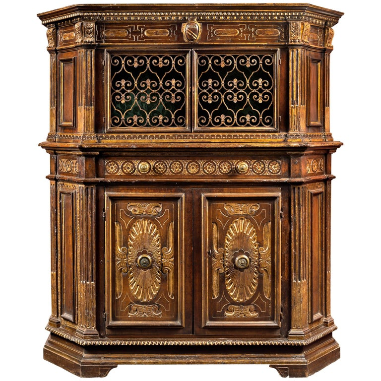 Fine and Rare 16th Century Tuscan Renaissance Parcel-Gilt and Walnut Credenza