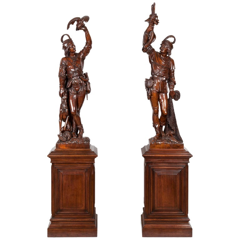 Pair of Italian Monumental Carved Figures on Plinths, 19th Century
