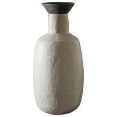 Large Handmade Grey and Black Ceramic Flared Stoneware Vase by Daniel Reynolds