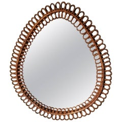 20th Century Italian and Oval Mirror Made of Wicker, 1960s