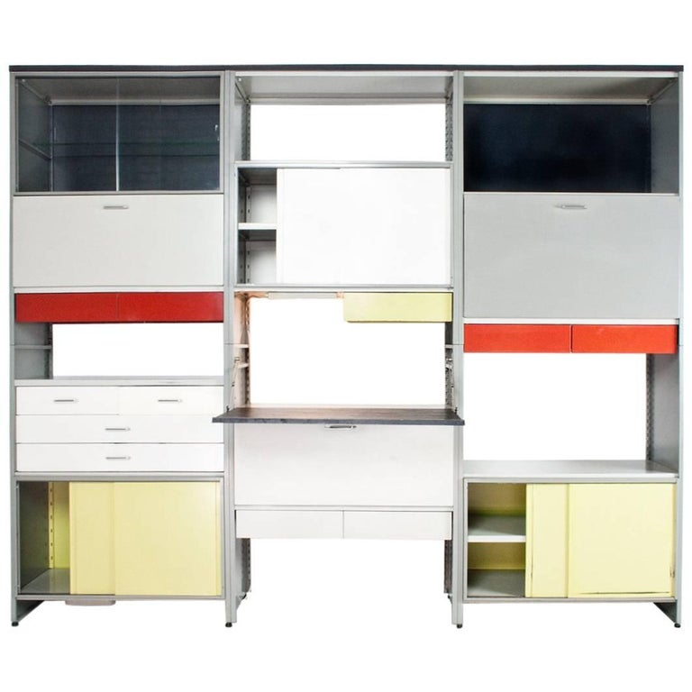 Metal Industrial Gispen 5600 Modular Cabinet, 1959 Holland, by Andre Cordemeyer For Sale