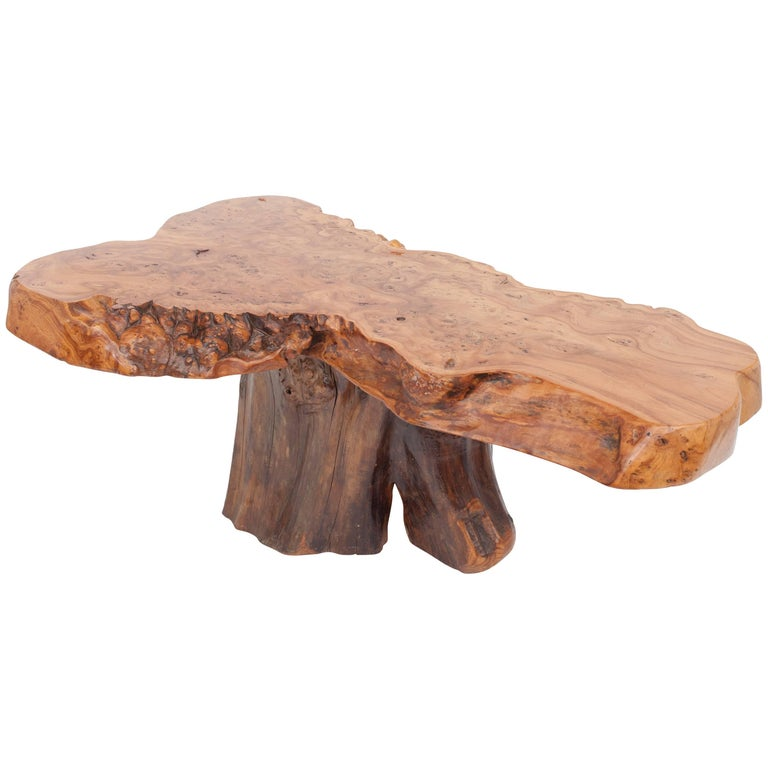 Natural Burl Wood High Gloss Coffee Table