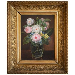 Still Life of Pink Roses in Vase, Mid-19th Century