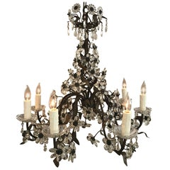 Spectacular Crystal French Floral Motif Chandelier