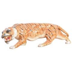 Porcelain Sculpture of a Walking Tiger