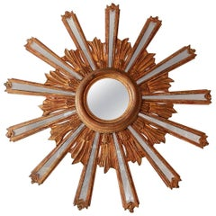 1900 Italian Giltwood Starburst Mirror with Mirrored Rays