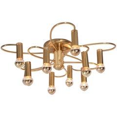Honsel Two-Tier Flush Mount Brass Spiral Chandelier Ten-Light