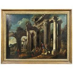 Italian Capriccio Oil on Canvas Painting