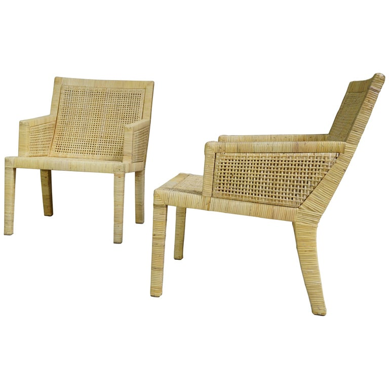 Pair of French Art Deco Design Rattan Bergeres by J.M. Frank and A. Chanaux