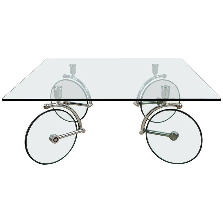 Wheel Glass Coffee Table By Fontana Arte Italy At 1stdibs