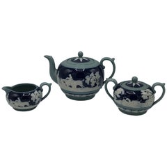 19th Century Copeland Spode Cobalt and White Hunting Scene Tea Set, Set of Three