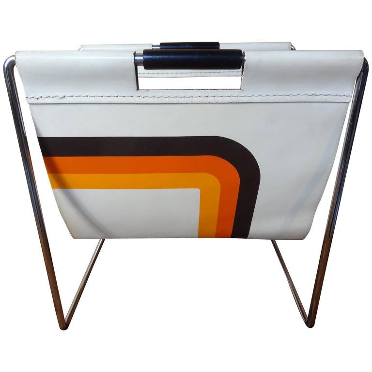Leather and Chrome Magazine Rack by Brabantia Holland For Sale