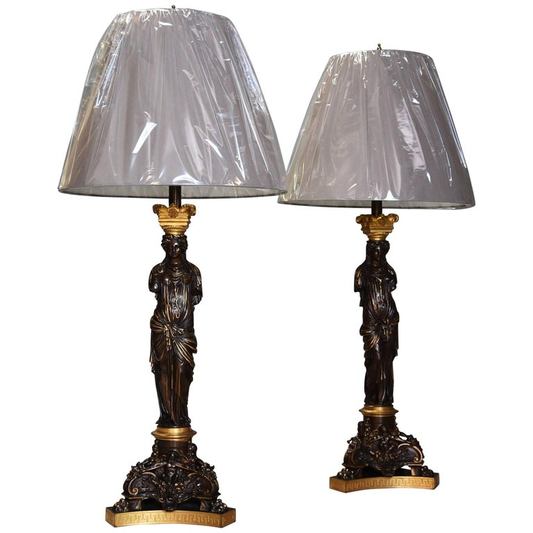 Large Pair of 19th Century Superb Quality Bronze and Gilt Bronze Table Lamps