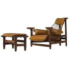 Jean Gillon 'Jangada' Brazilian Armchair and Ottoman in Original Leather