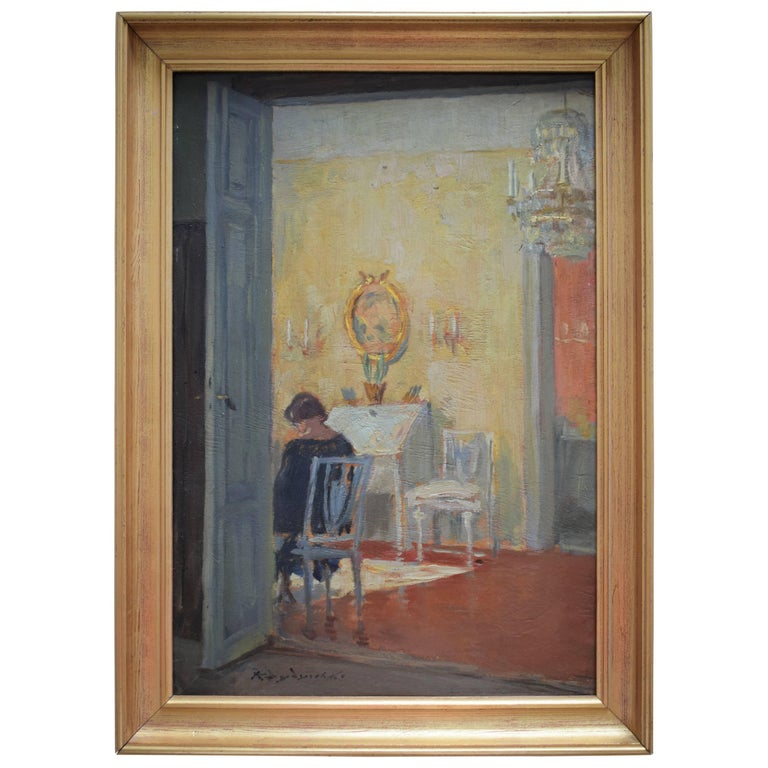 Interior Scene of Woman in Her Living Room, Early 20th Century For Sale