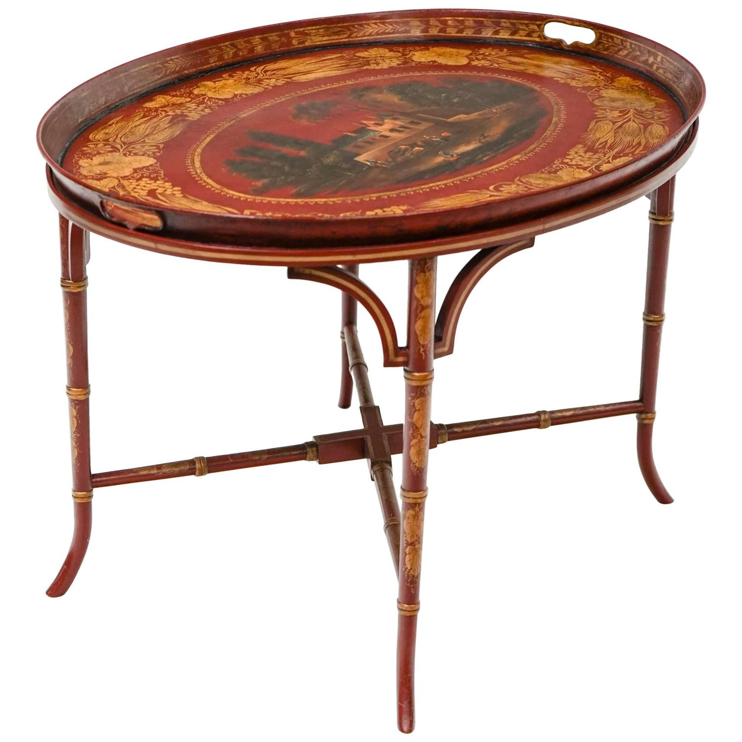 Antique Toleware Coffee Table For Sale at 1stdibs