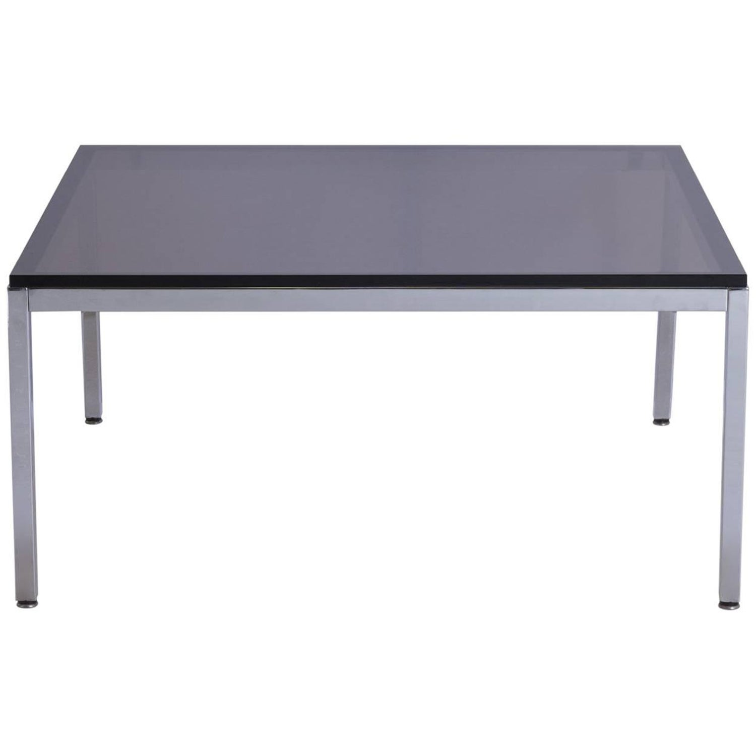 Midcentury Square Chrome Cocktail Table With Rounded Frame For Sale