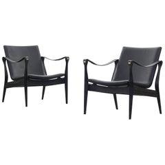 Pair of Safari Chairs by Karen & Ebbe Clemmensen for Fritz Hansen, 1960