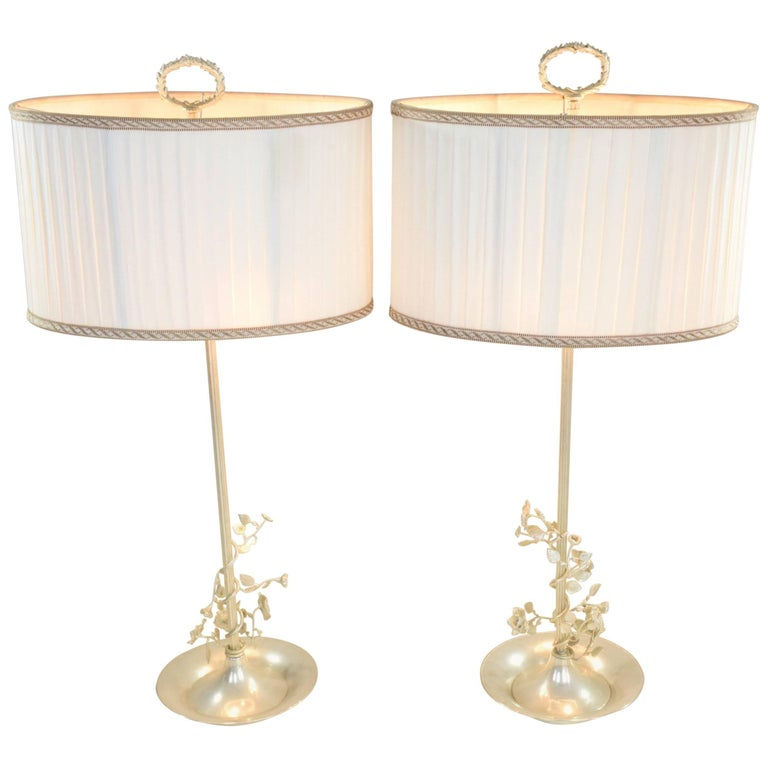 20th Century Pair of Silver Plated Flower Lamps, Spain, 1960s