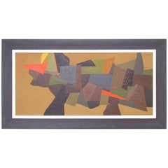 Abstract Oil Painting by Listed Boston Artist William Georgenes, 1958