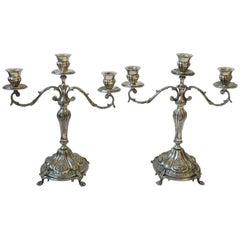 Pair of Italian Sterling Silver Plate Regency Candlesticks or Candelabras