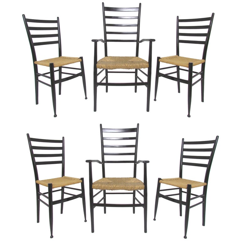 Set of Six Italian Ladder Back Dining Chairs in the Style of Gio Ponti