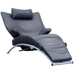 WK Wohnen Solo 699 Designer Lounger Leather Black Chair Function Modern