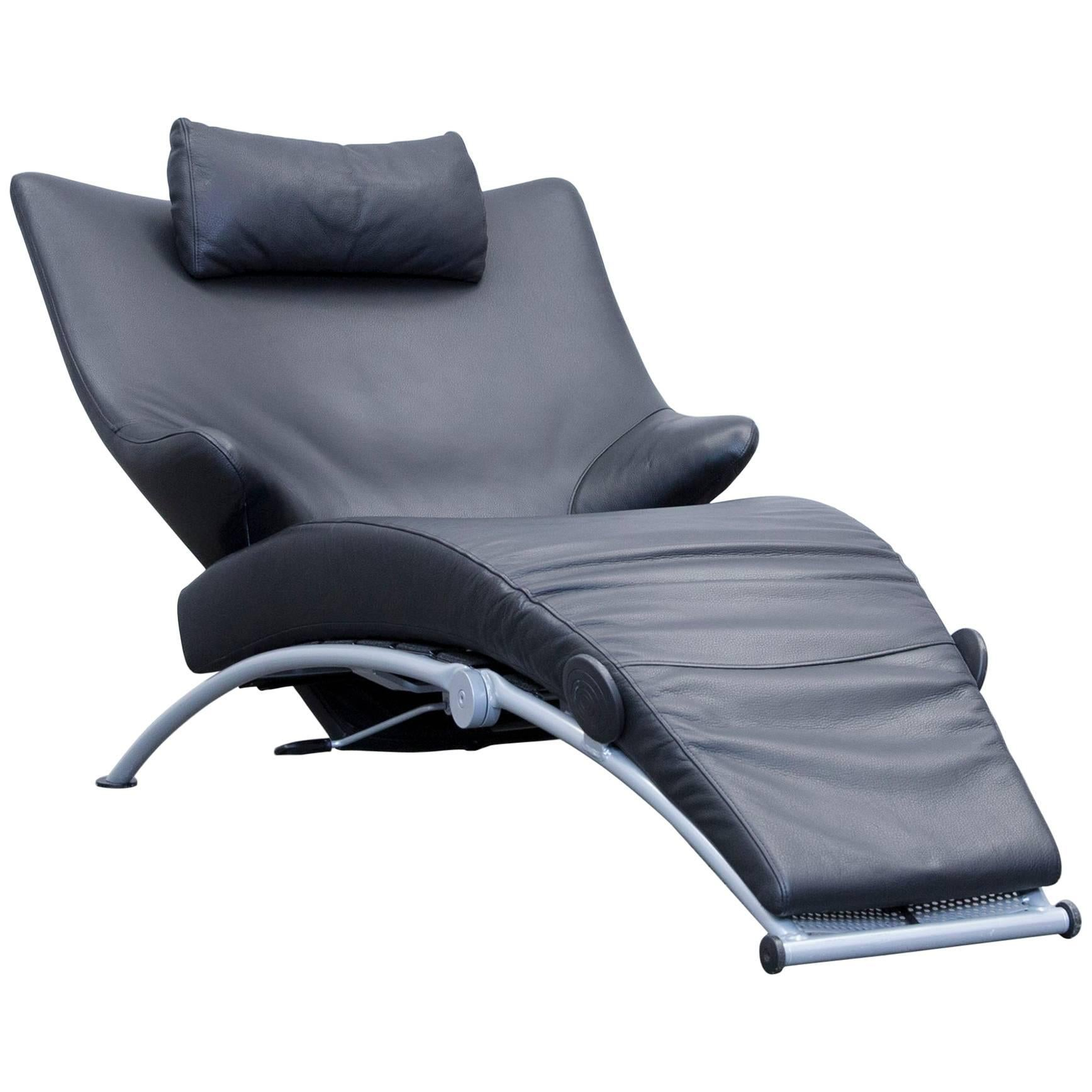 WK Wohnen Solo 699 Designer Lounger Leather Black Chair Function Modern