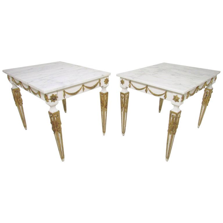 Pair of Italian Neoclassical Marble and Parcel Gilt End Tables, circa 1960s