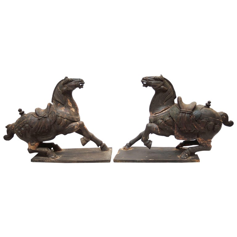 Pair of Large Antique Carved Wood Statues of Horses