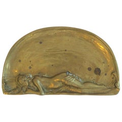 Art Nouveau Brass Jewelry or Vanity Tray with Female Figure