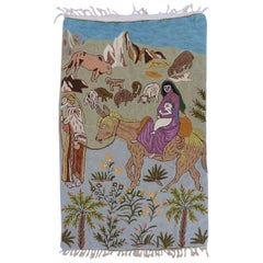 Mid century Tapestry Wall Hanging Crewelwork Naive Folk Art Nativity Basque Mary