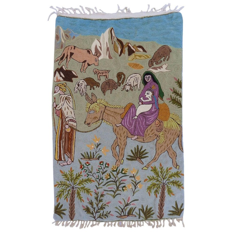 Mid century Tapestry Wall Hanging Crewelwork Naive Folk Art Nativity Basque Mary For Sale