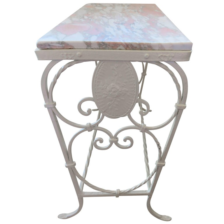 1920s, French Art Nouveau Marble and Decorated Iron Side Table