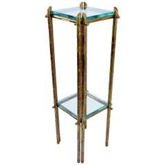Brass Faux Bamboo Pedestal, France, 1970s