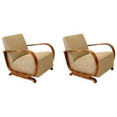 Pair of 1930s Art Deco Club Armchairs in Walnut and Pierre Frey Upholstery