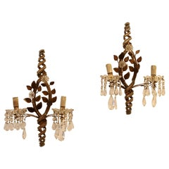 Pair of Sconces with Pendants, 1940s