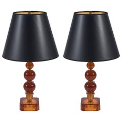 Vintage Pair of Amber Stacked Ball Glass Lamps with Black Paper Shades