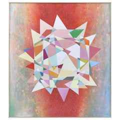 Abstract Midcentury Pastel Prism Painting