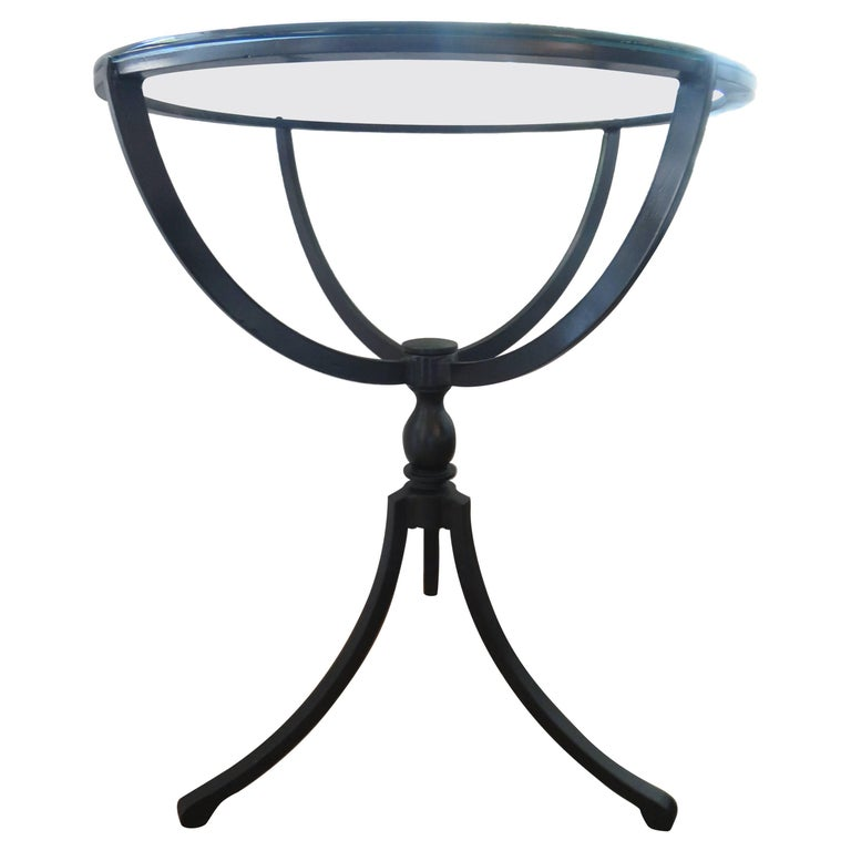Midcentury Gueridon Form Black Iron Table For Sale